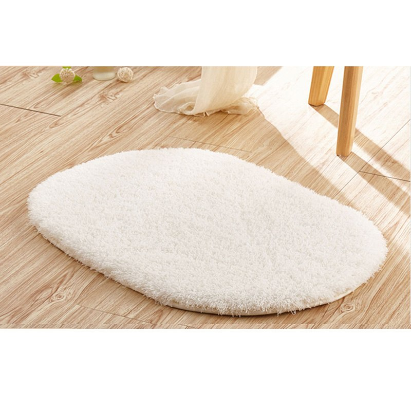 Costbuys  Soft Absorbent Non-slip Bathroom Bedroom Floor Mats Door Mats Stylish Rug Fluffy Round Door Carpet 30*50cm - as shown