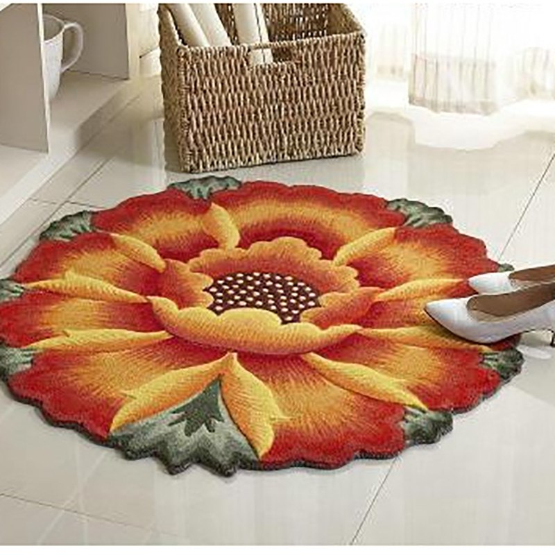 Costbuys  Yellow Sunflower Carpet 3D Floral Embroidery Non-skid Porch Doormat Flower Rug Water Floor Mat - White