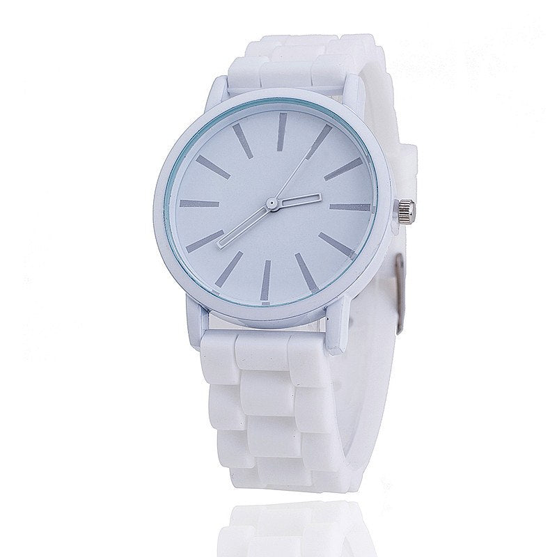 Costbuys  Casual Watch Unisex Quartz watch 12color men women Analog wristwatches Sports Watches Rose Gold Silicone watches - whi