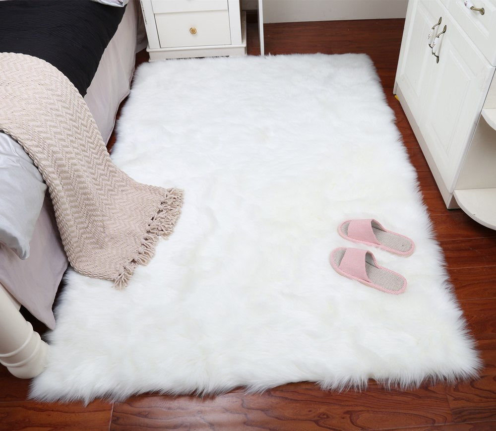 Costbuys  Faux wool rug living room long fur table rectangular carpet tatami mat bedroom bedside rug thickened window bed sofa m