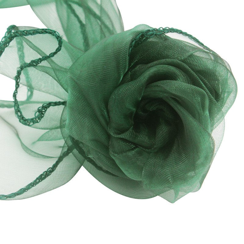 Costbuys  100pcs 18x275cm Organza Chair Sashes Chair Cover Bows Wedding Favors Party Home Decorations - dark green