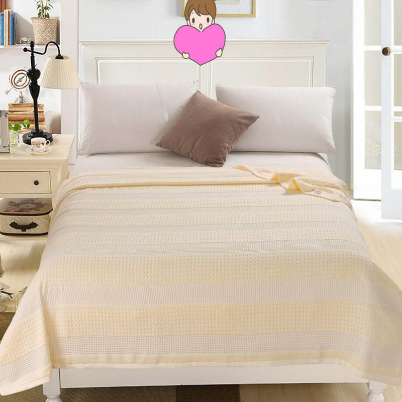 Costbuys  100% Cotton Adult Towel Blanket Bed Summer Quilts Bedspread Sofa Throws Office Travel Sleeping Air Conditioning - beig