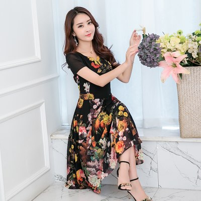 Costbuys  8 colors Summer Print Chiffon Dress Women Beach Dress Sexy Slim Plus Size Women Elegant Long Dresses - black / XL