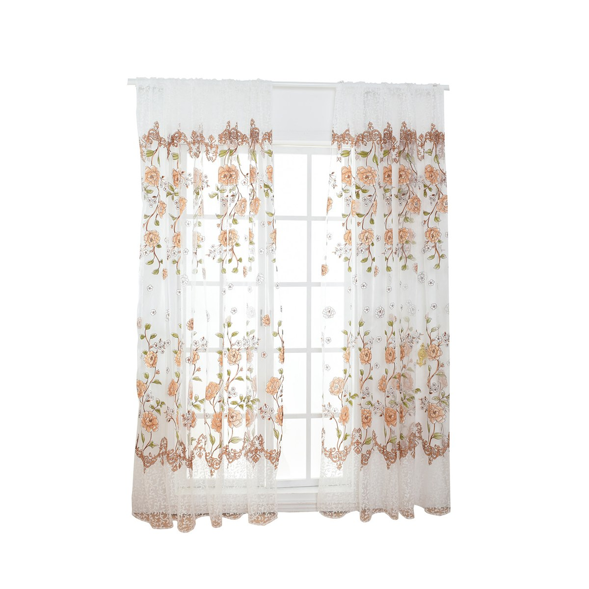 Costbuys  Sheer Floral Curtains Home Decor Window Treatments Modern Curtain Pour Le Salon Window - Yellow