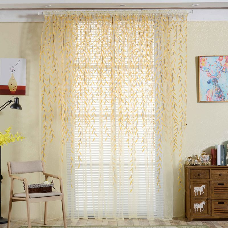 Costbuys  Tulle Room Window Curtains Sheer Panel Drapes Curtain Leaves Print Bedroom Home Textile Window Treatments - Yellow / 1