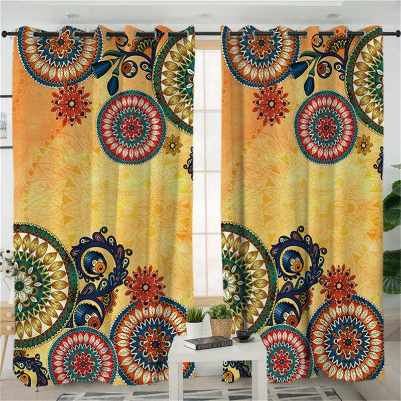 Costbuys  Living Room Curtains Bohemian Curtain for Bedroom Ethnic Mandala Flowers Window Treatment Drapes - B (2 Pcs) / 132x213