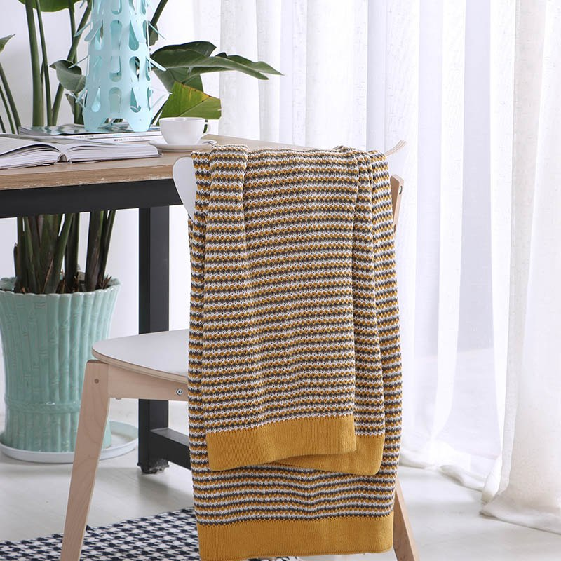Costbuys  100% Cotton Knitted Blanket Bed Banket shawl living room sofa bed blanket Grey Yellow - Yellow / 130x180cm