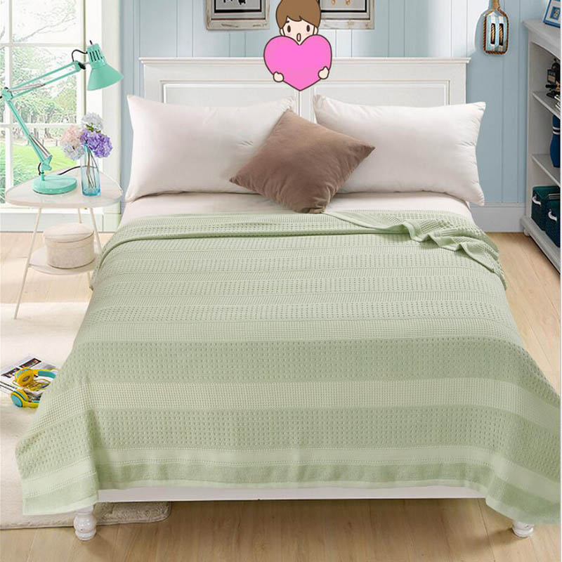 Costbuys  100% Cotton Adult Towel Blanket Bed Summer Quilts Bedspread Sofa Throws Office Travel Sleeping Air Conditioning - gree