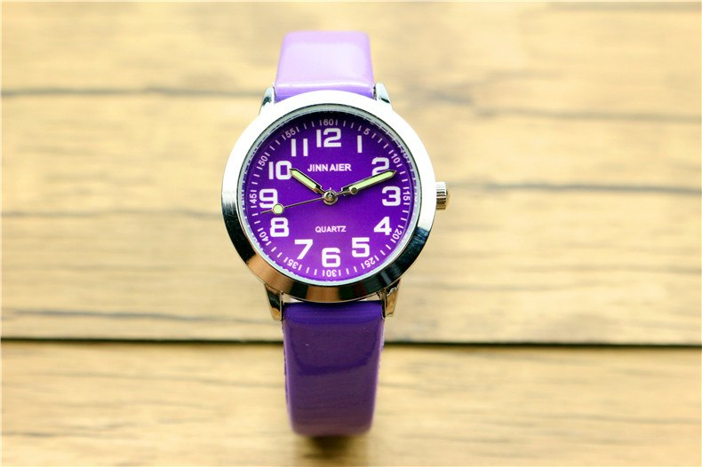 Costbuys  Children lovely 7 colors dial leather watch little boys and girls luminous hands gift clock - Purple