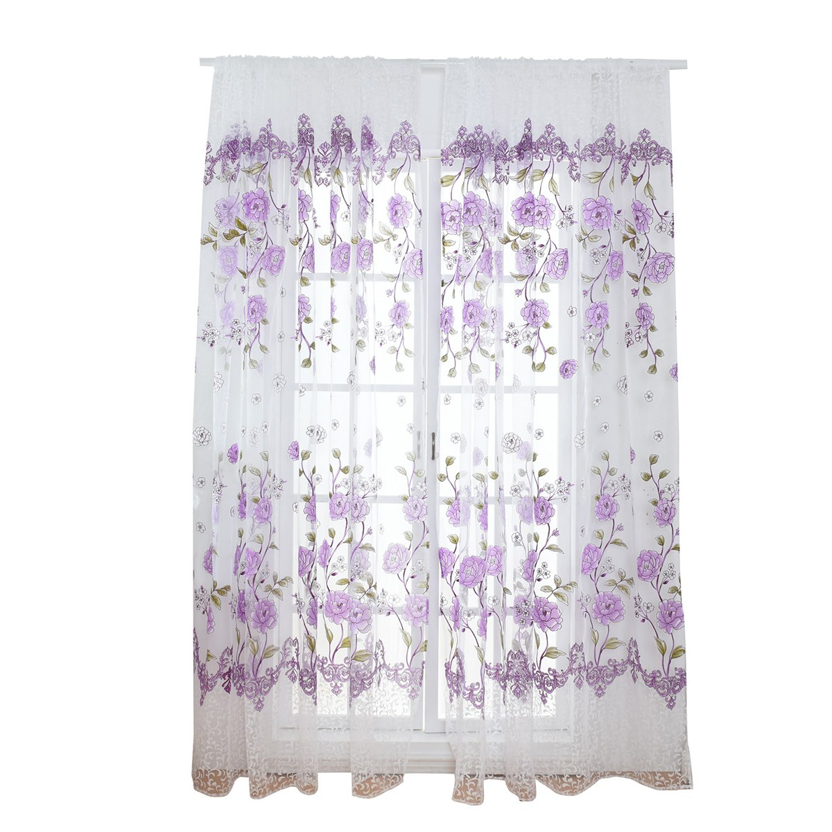 Costbuys  Sheer Floral Curtains Home Decor Window Treatments Modern Curtain Pour Le Salon Window - Purple