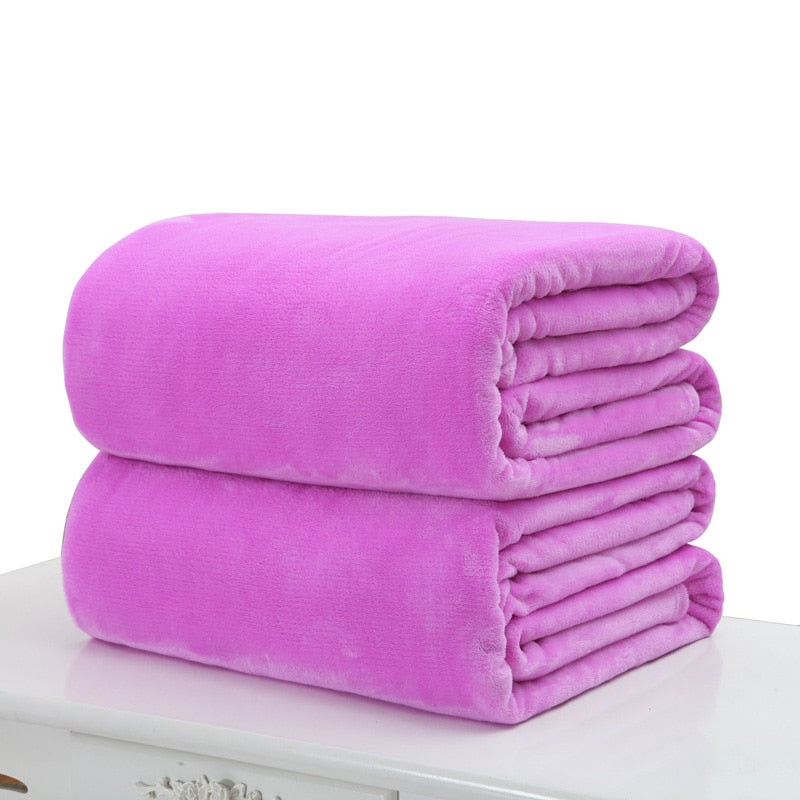 Costbuys  50*70cm Warm Blanket Small Super Soft Blanket Warm Solid Plush Fleece Quilt Throw Rug for Sofa Bedding Home Office - P