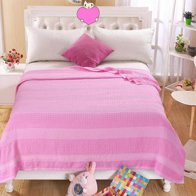 Costbuys  100% Cotton Adult Towel Blanket Bed Summer Quilts Bedspread Sofa Throws Office Travel Sleeping Air Conditioning - pink