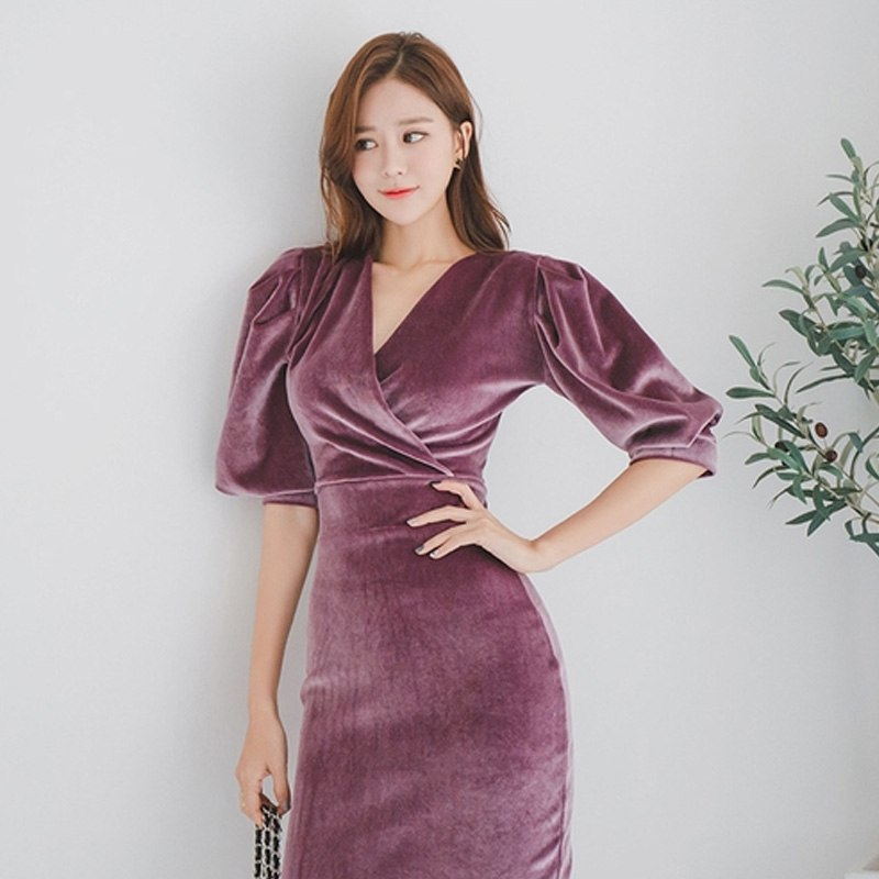 Costbuys  Elegant Puff Sleeve Velvet Women Dress V-neck Slim Waist Evening Special Occasion Mid-length Dresses Female Pencil Ves