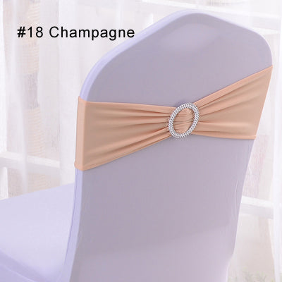 Costbuys  100pcs Wedding Chair Cover Sash Bands Spandex Lycra for Wedding Party Birthday Chair Decoration - 18 Champagne