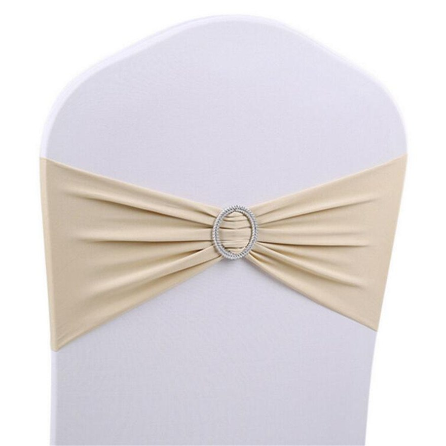 Costbuys  50Pcs Decor Wedding Buckle Chair Party Sashes Band Bow Pop Banquet Chair Cover Elasticity - Champagne