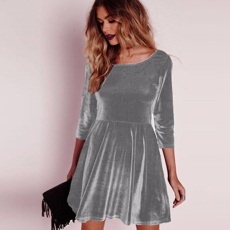 Costbuys  Autumn Spring Sexy Women Dress Solid Long Sleeved Mini Velvet Dress Party Dresses Night - Grey / S