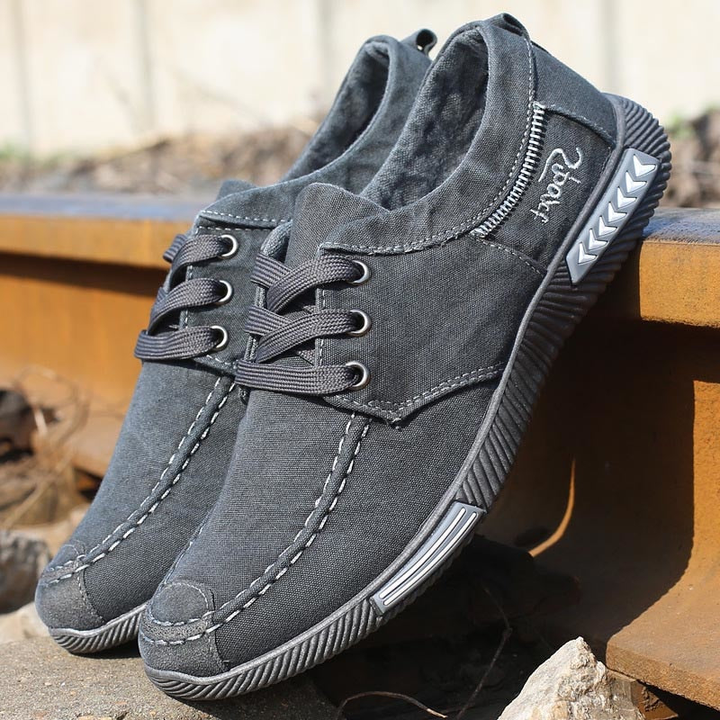 Costbuys  Canvas Men Shoes Denim Lace-Up Men Casual Shoes  Plimsolls Breathable Male Footwear Spring Autumn men footwear - Grey