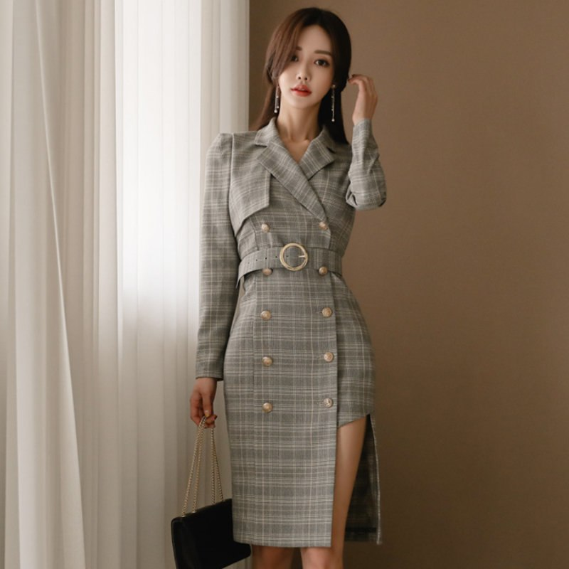 Costbuys  Autumn Neck Irregular Plaid Women Dress Vintage Double Breasted Sashes Mid-length Dress Female - plaid / S