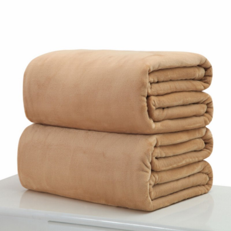 Costbuys  Small Super Warm Solid Warm Micro Plush Fleece Blanket Throw Rug Sofa Bedding - Light brown