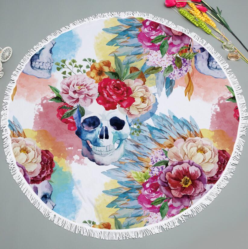Costbuys  150X150cm Skull Round Bath Towel Big High Quality Microfiber Beach Towel Stoalla Playa Redonda Cotton Bath Towel - as