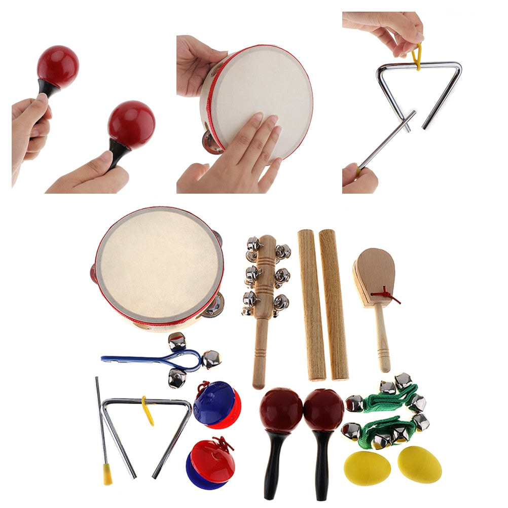 Costbuys  16Pcs/Lot Musical Instruments Set 10 Kinds Kindergarten Kids Tambourine Drum Percussion Toys for Children / Early Educ