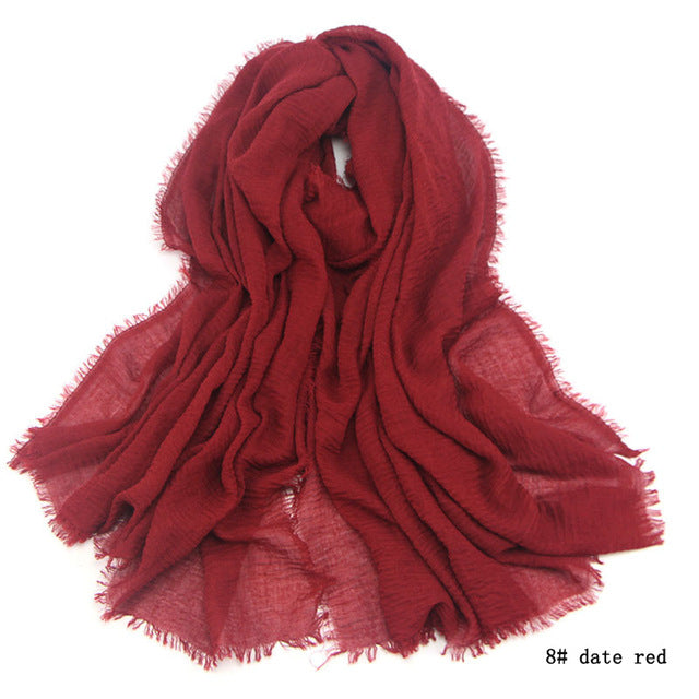 Costbuys  Cotton Scarf For men fringes Popular muffler women Shawls Wraps large men scarves - wine