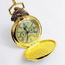 1862 Antique Golden Dragon Style 12/24Hour Pocket Watch cool
