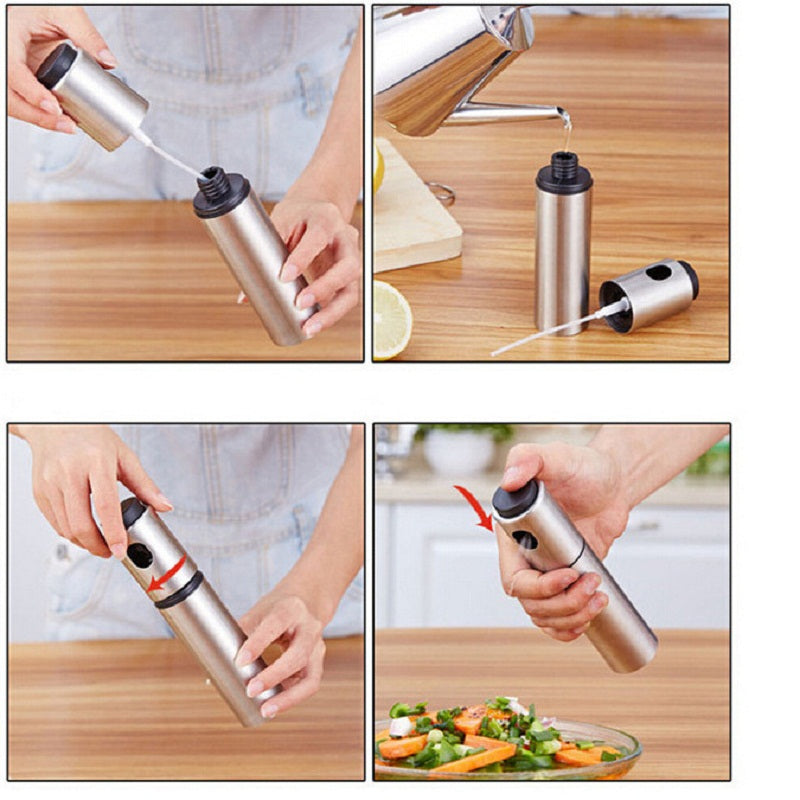 Costbuys  1PC Stainless Steel Olive Pump Spray Bottle Oil Sprayer Oiler Pot BBQ Barbecue Cooking Tool Can Pot Cookware kitchen T