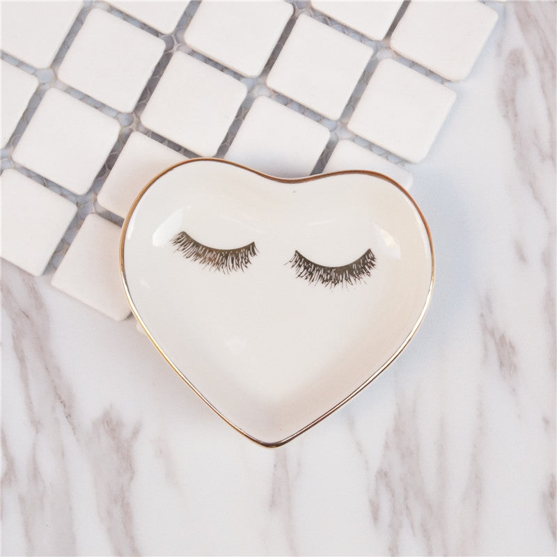 Costbuys  1PCS Ceramic Square Jewelry Dish Rings Round Snack candy Heart-shaped Storage tray Snack dish Decoration Plates Crafts