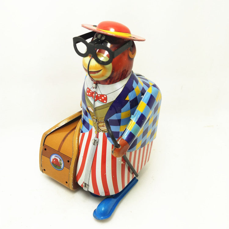 Costbuys  1PCS Retro Wind Up Walking Old Monkey On Business with Suitcase and Crutch Model Tin Toy Collectibles - Multicolor