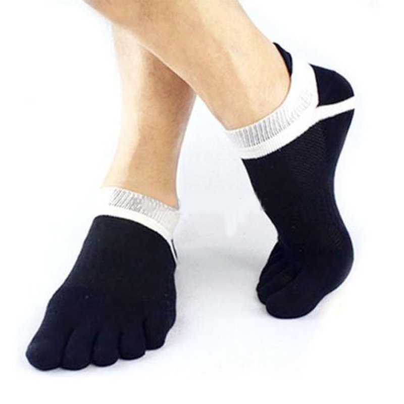Costbuys  1Pair Men Boy 5 Fingers Toe Short Socks Cotton Breathable Ankle Sock - Black