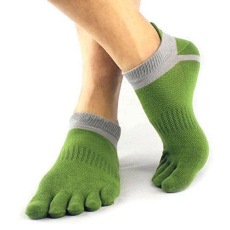 Costbuys  1Pair Men Boy 5 Fingers Toe Short Socks Cotton Breathable Ankle Sock - Green