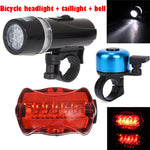 1Set Bicycle headlight +Tail Light Waterproof Lamp Bike Bicycle Front 5 LED Head Light + Rear Safety Flashlight Accessories