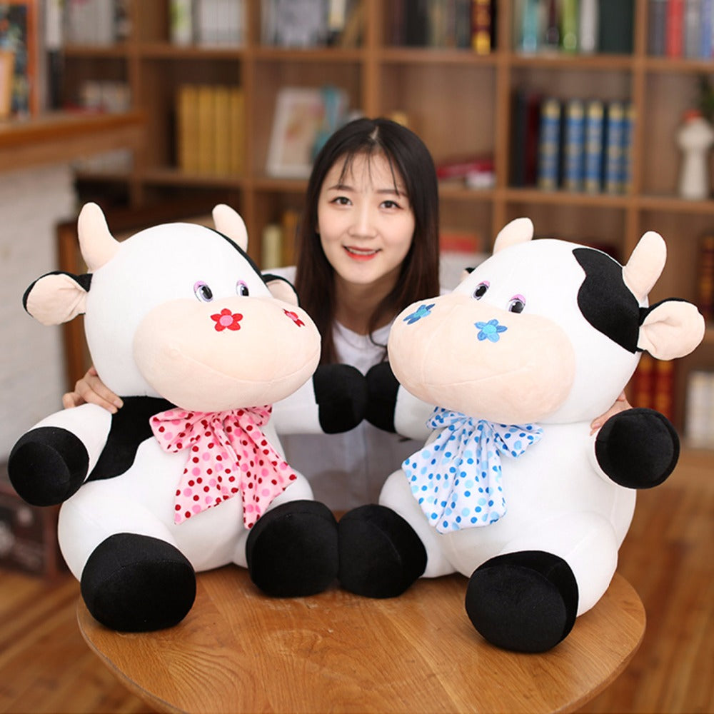 Costbuys  1pc 25cm/40cm Kawaii Cow Plush Animals Doll Toys Stuffed Soft Plush Cattle Cow Toys Birthday Gifts Kids Toys - 25cm /