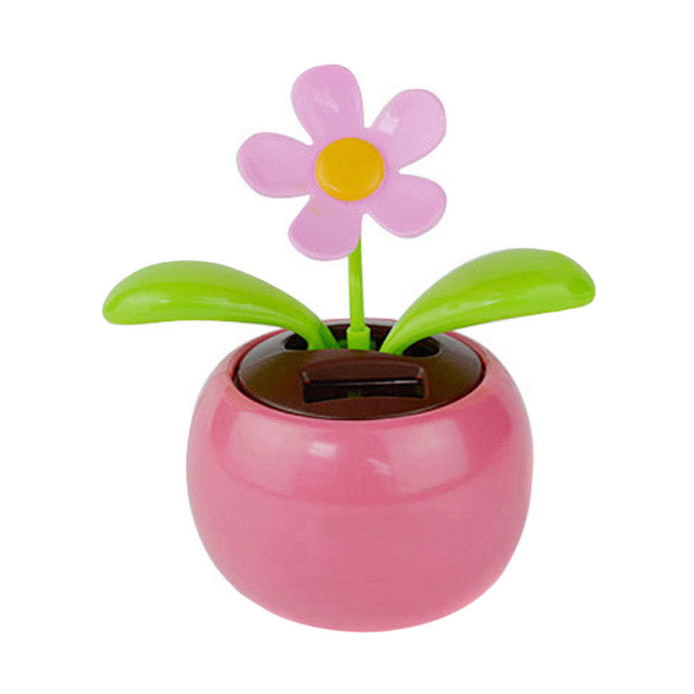 Costbuys  1pc Crafts Home Car Flowerpot Solar Power Flip Flap Flower Plant Swing Auto Dance Toy Car Styling Decoration Ornaments