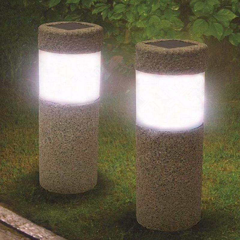 Costbuys  1pc Solar Power Stone Pillar W hite LED Solar Lights Outdoor Garden Light Lawn Lamp Court yard Decoration Lamp 5W