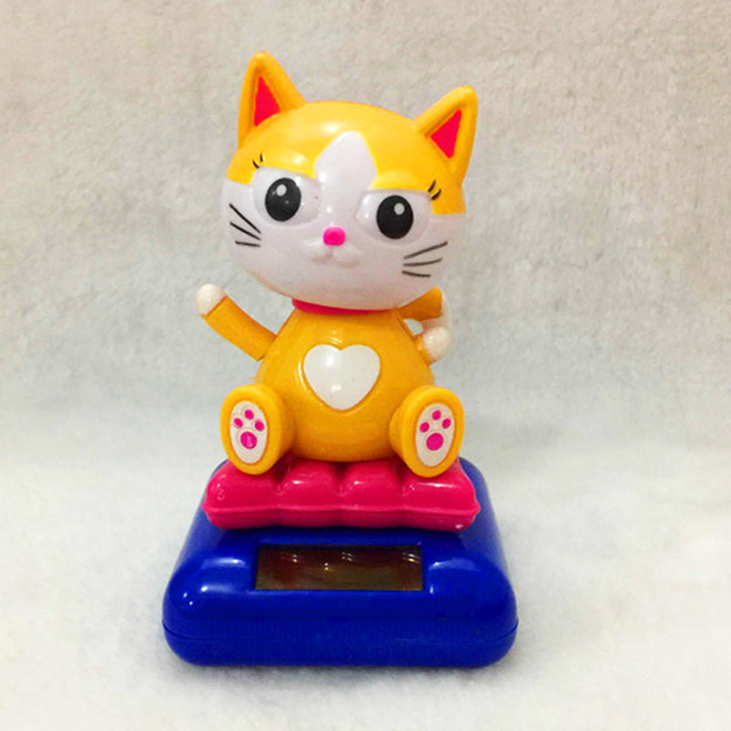 Costbuys  1pc Solar Powered Dancing Animal Swinging  Cute Dog Car Animated Bobble Dancer Toy Car Home Decoration 7Styles - Cat 1