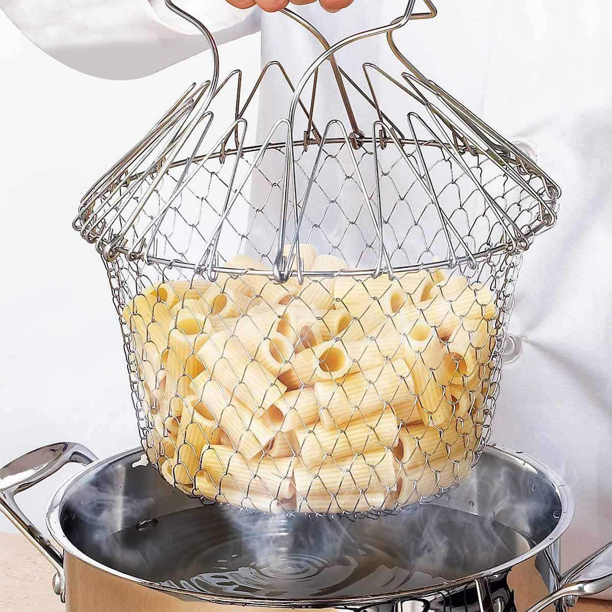 Costbuys  1pcs Foldable Steam Rinse Strain Fry French Chef Basket Magic Basket Mesh Basket Strainer Net Kitchen Cooking Tool - C
