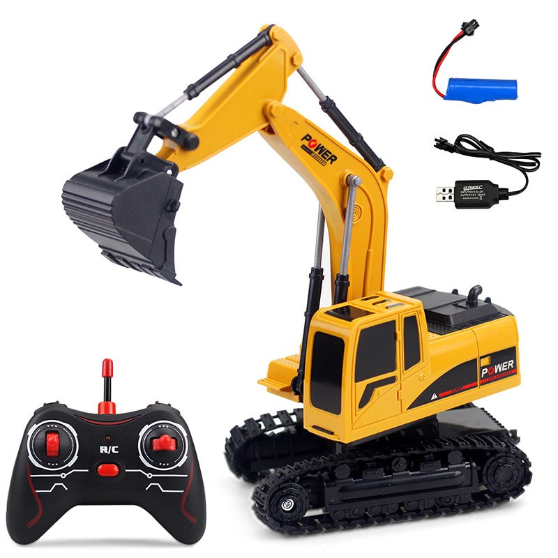 2.4G Electric remote control excavator toy car Engineering rc car childrent's gift boys favorite,flashing remote control car
