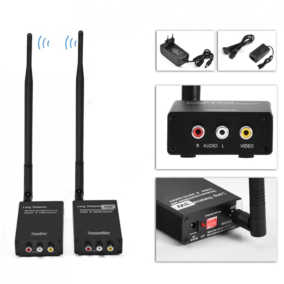 Costbuys  2.4GHz Wireless Audio Video AV Transmitter Sender & Receiver Adapter for Home Theater System video transmitter receive