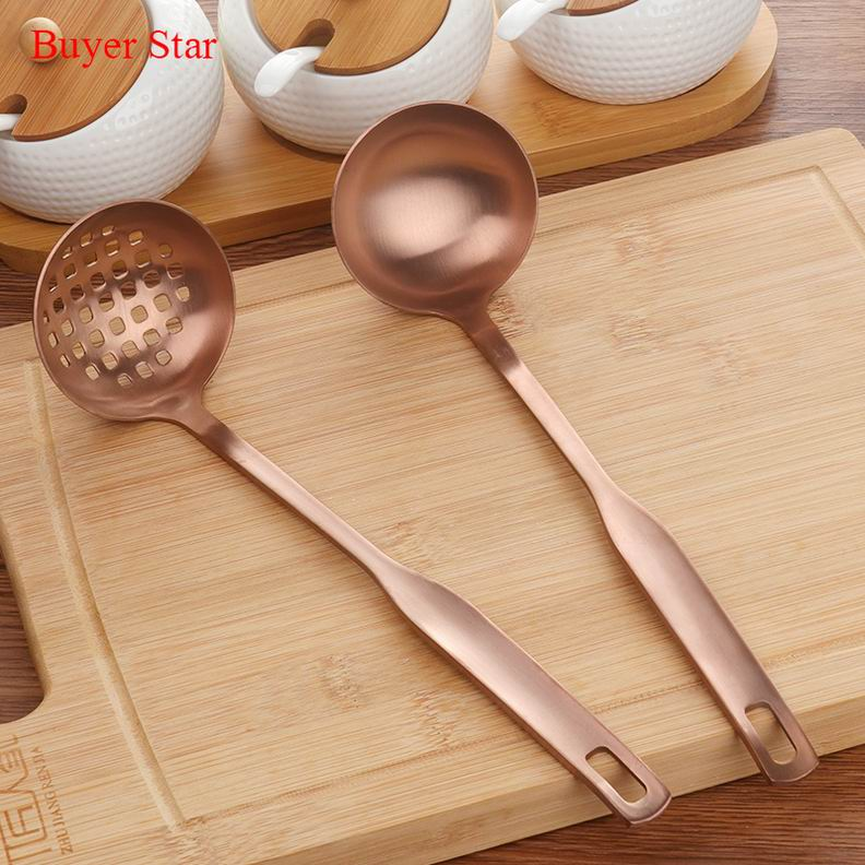 Costbuys  2 Pcs/Set Stainless Steel Cooking Tool Matt Polish Long Handle Soup Ladle Skimmer Copper Kitchen Accessories - Small R