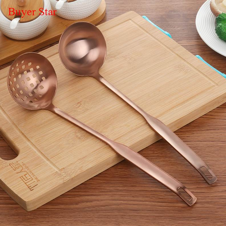 Costbuys  2 Pcs/Set Stainless Steel Cooking Tool Matt Polish Long Handle Soup Ladle Skimmer Copper Kitchen Accessories - Big Ros