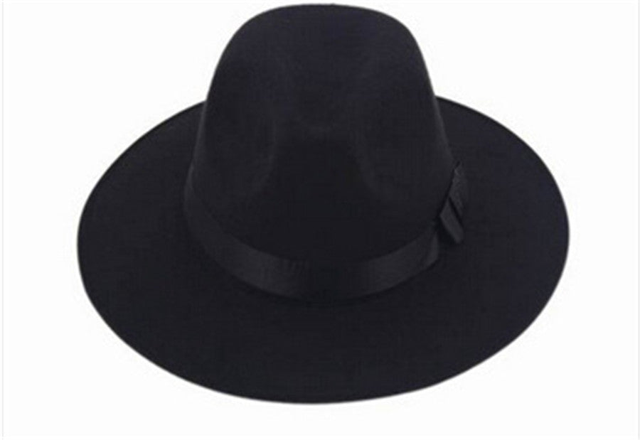 Vintage Women Wide Brim Ribbon Warm Wool Blend Felt Hat Bowler Trilby –  Costbuys 2201197e240c