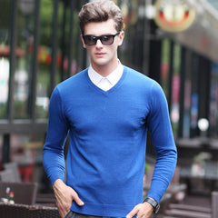 Wool Knit V Neck Men Sweater Solid Color Pullover Sweater