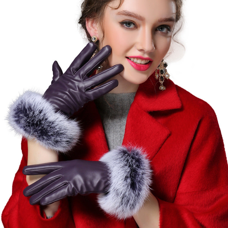 Costbuys  Black red champagne fitness solid PU angora leather winter gloves women mitten - PURPLE / L