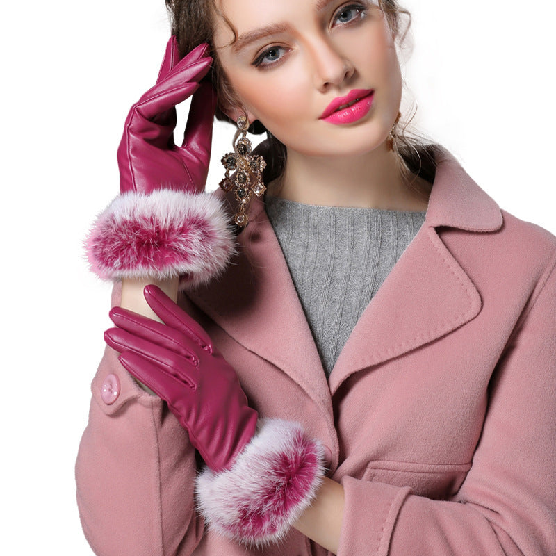 Costbuys  Black red champagne fitness solid PU angora leather winter gloves women mitten - ROSE / L