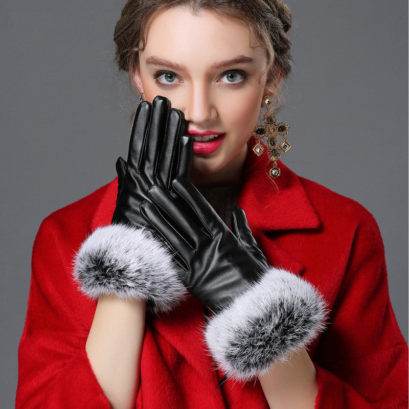 Costbuys  Black red champagne fitness solid PU angora leather winter gloves women mitten - BLACK / L