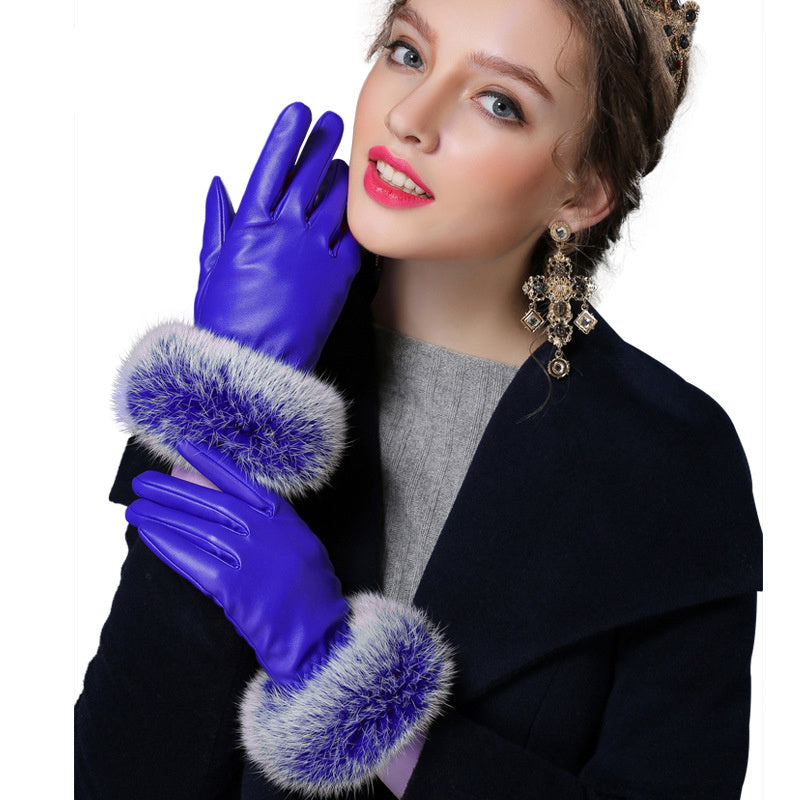 Costbuys  Black red champagne fitness solid PU angora leather winter gloves women mitten - BLUE / L