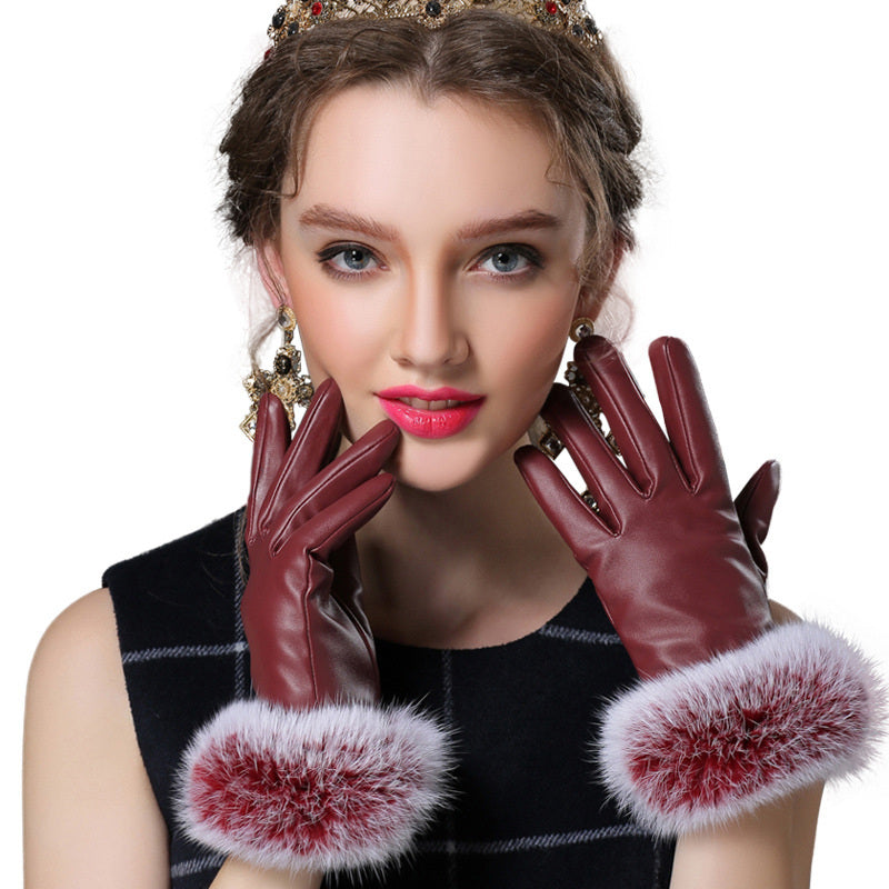 Costbuys  Black red champagne fitness solid PU angora leather winter gloves women mitten - WINE / M