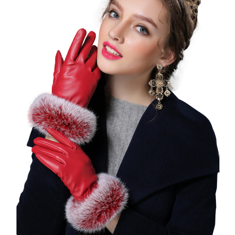Costbuys  Black red champagne fitness solid PU angora leather winter gloves women mitten - RED / L